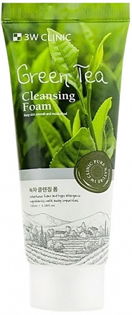 3W CLINIC~Пенка для умывания натуральная с зеленым чаем~Green Tea Foam Cleansing