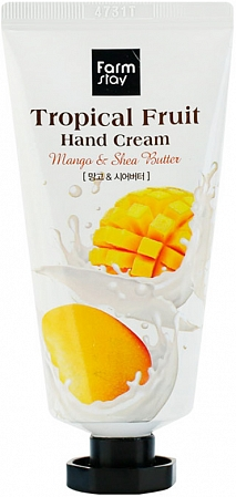 FarmStay~Крем для рук с маслом ши и манго~Tropical Fruit Hand Cream Shea Butter and Mango